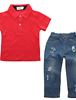 preiswerte -Jungen Kleidungs Set Alltag Sport Solide Baumwolle Frühling Sommer Kurzarm Freizeit Street Schick Rote