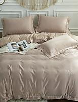 preiswerte -Bettbezug-Sets Solide 4 Stück Polyester / Baumwolle Garngefärbt Polyester / Baumwolle 1 Stk. Bettdeckenbezug 2 Stk. Kissenbezüge 1 Stk.