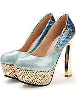 preiswerte -Damen Schuhe PU Frühling Herbst Neuheit Komfort High Heels Blockabsatz Runde Zehe Schleife Schnalle für Büro & Karriere Party & Festivität