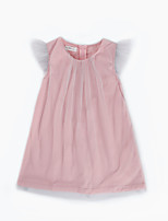 cheap -Girl's Daily Solid Dress, Cotton Linen Bamboo Fiber Acrylic Spring Short Sleeves Simple Blushing Pink