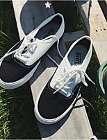 abordables -Homme Chaussures Toile Hiver Automne Confort Basket pour Décontracté Noir/blanc