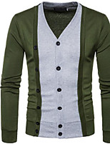 cheap -Men's Cardigan - Color Block, Print V Neck