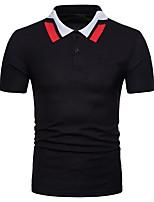 cheap -Men's Work Basic Chinoiserie Cotton Polo - Color Block Shirt Collar