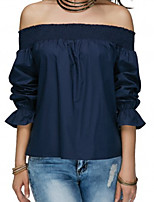cheap -Women's T-shirt-Solid Colored Off Shoulder
