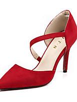 abordables -Femme Chaussures Cuir Nubuck Printemps Automne Escarpin Basique Confort Chaussures à Talons Talon Aiguille pour Noir Gris Rouge