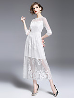 cheap -SHIHUATANG Women's Vintage Street chic A Line Swing Dress - Solid Colored, Lace