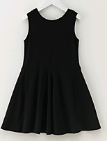 cheap -Girl's Solid Colored Dress Summer Sleeveless Simple Black Yellow