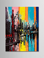 cheap -Hand-Painted Abstract Landscape Vertical, Modern Canvas Oil Painting Home Decoration One Panel