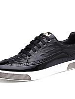 Недорогие -Муж. обувь Кожа Весна Осень Удобная обувь Кеды для Повседневные Черный Синий Темно-русый