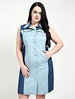 cheap -Cute Ann Women's Plus Size Work Vintage Shift Shirt Dress - Color Block Patchwork Shirt Collar