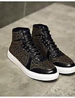 Недорогие -Муж. обувь Кожа Наппа Leather Весна Осень Удобная обувь Кеды для Повседневные Черный Желтый Красный