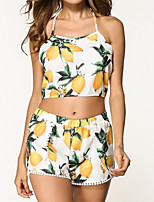 cheap -Women's Sexy Set - Floral, Backless Pant