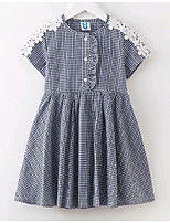 cheap -Girl's Daily Check Dress Summer Short Sleeves Simple Black Red