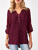 cheap -Women's T-shirt - Solid, Lace Patchwork V Neck
