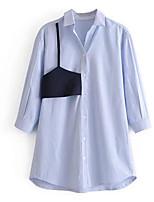 cheap -Women's Simple Shirt - Striped Shirt Collar