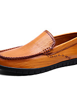 cheap -Men's Shoes Nappa Leather Spring Fall Comfort Loafers & Slip-Ons for Casual Office & Career Black Yellow Dark Brown