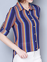 cheap -Women's Basic T-shirt - Striped Shirt Collar