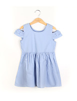cheap -Girl's Daily Solid Dress, Cotton Summer 3/4 Length Sleeves Simple Blue