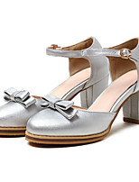 cheap -Women's Shoes PU Spring Fall Novelty Comfort Heels Chunky Heel Round Toe Bowknot Buckle for Office & Career Party & Evening Black Silver