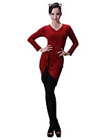 cheap -Latin Dance Dresses Women's Training Modal Split Joint Long Sleeves Natural Dress