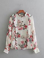 cheap -Women's Vintage Blouse - Floral Crew Neck