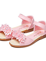 cheap -Girls' Shoes Leatherette Summer Flower Girl Shoes Sandals Magic Tape Flower for Casual Dress White Pink