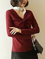 preiswerte -Damen Solide T-shirt, V-Ausschnitt Schlank