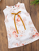 cheap -Girl's Daily Going out Floral Dress, Cotton Polyester Summer Sleeveless Simple Casual Rainbow