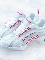 "cheap -Women's Dance Sneakers Tulle Canvas Sneaker Outdoor Splicing Low Heel Pink/White 1"" - 1 3/4"" Customizable"