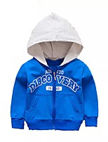 abordables -Garçon Quotidien Sortie Imprimé Costume & Blazer, Coton Printemps Automne Manches Longues Actif Bleu Rouge