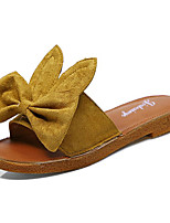 cheap -Women's Shoes PU Summer Comfort Slippers & Flip-Flops Low Heel Round Toe Bowknot for Casual Black Beige Yellow