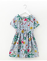 cheap -Girl's Floral Dress Summer Simple Rainbow