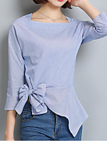 cheap -Women's Work Street chic T-shirt - Solid Colored Bow Shirt Collar Square Neck