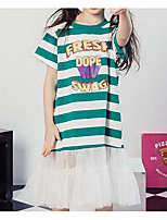 cheap -Girl's Daily Striped Dress, Cotton Spring Summer Short Sleeves Cute Active Green
