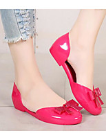 cheap -Women's Shoes PVC Leather Spring Summer Comfort Flats Low Heel for Casual Black Fuchsia Almond
