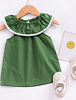 cheap -Girl's Daily Solid Colored Dress, Special Leather Types Summer Sleeveless Casual Green