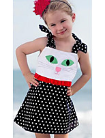 cheap -Girl's Daily Going out Polka Dot Print Patchwork Dress, Polyester Spring Summer Sleeveless Cute Active Black