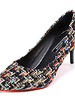 cheap -Women's Shoes PU Spring Summer Comfort Heels Kitten Heel Pointed Toe for Casual Black Beige