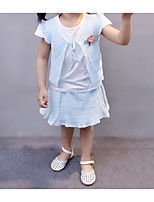 cheap -Girl's Daily Holiday Solid Dress, Cotton Spandex Spring Summer Short Sleeves Simple Active Brown Blushing Pink Light Blue