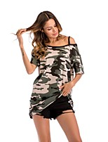 cheap -Women's Loose T-shirt - Camouflage, Print Off Shoulder