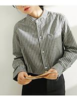 cheap -Women's Basic Cotton Shirt - Striped Stand