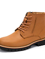 cheap -Men's Shoes Cowhide Nappa Leather Winter Fall Combat Boots Comfort Boots Booties/Ankle Boots for Casual Coffee Light Brown