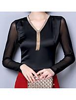 economico -T-shirt Per donna Essenziale Con lustrini,Tinta unita