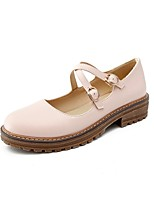 cheap -Women's Shoes Leatherette Customized Materials Spring Fall Novelty Comfort Flats Chunky Heel Round Toe for Casual Office & Career White