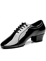 cheap -Men's Modern Patent Leather Oxford Practice Chunky Heel Black Customizable