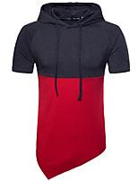 cheap -men's daily simple color block hooded hoodie regular, short sleeves summer cotton spandex