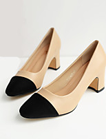 cheap -Women's Shoes PU Spring Fall Comfort Heels Chunky Heel Square Toe for Casual Black Almond