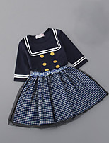 cheap -Girls' Daily School Polka Dot Striped Clothing Set, Cotton Polyester Summer 3/4 Length Sleeves Cute White Navy Blue