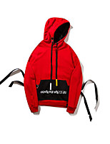 cheap -Men's Hoodie - Color Block Letter Hooded