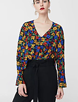 cheap -Women's Going out Vintage Blouse - Floral V Neck